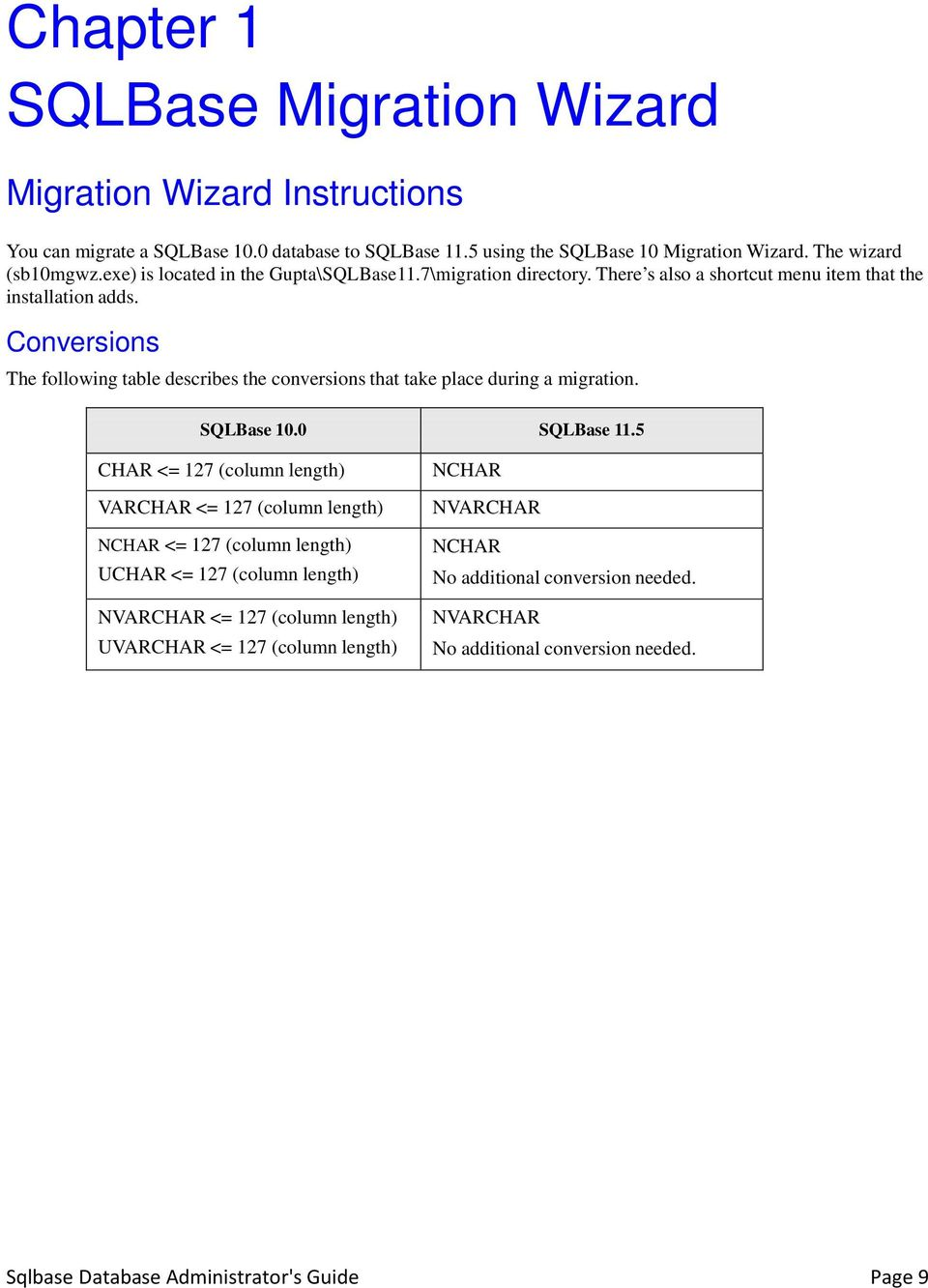 Conversions The following table describes the conversions that take place during a migration. SQLBase 10.0 SQLBase 11.