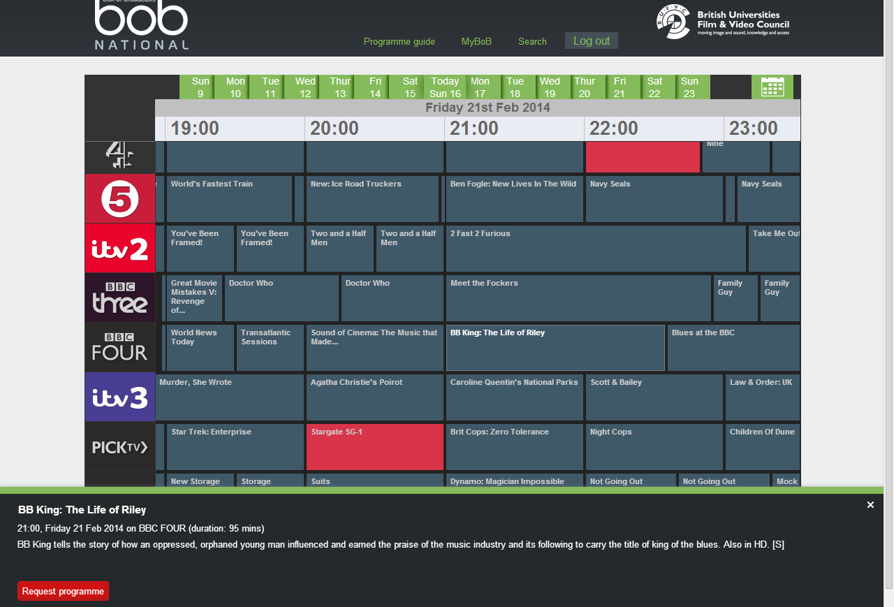 Recording a programme Click on programme guide to view a calendar of programmes. Click and drag on the calendar to browse past and future programmes.