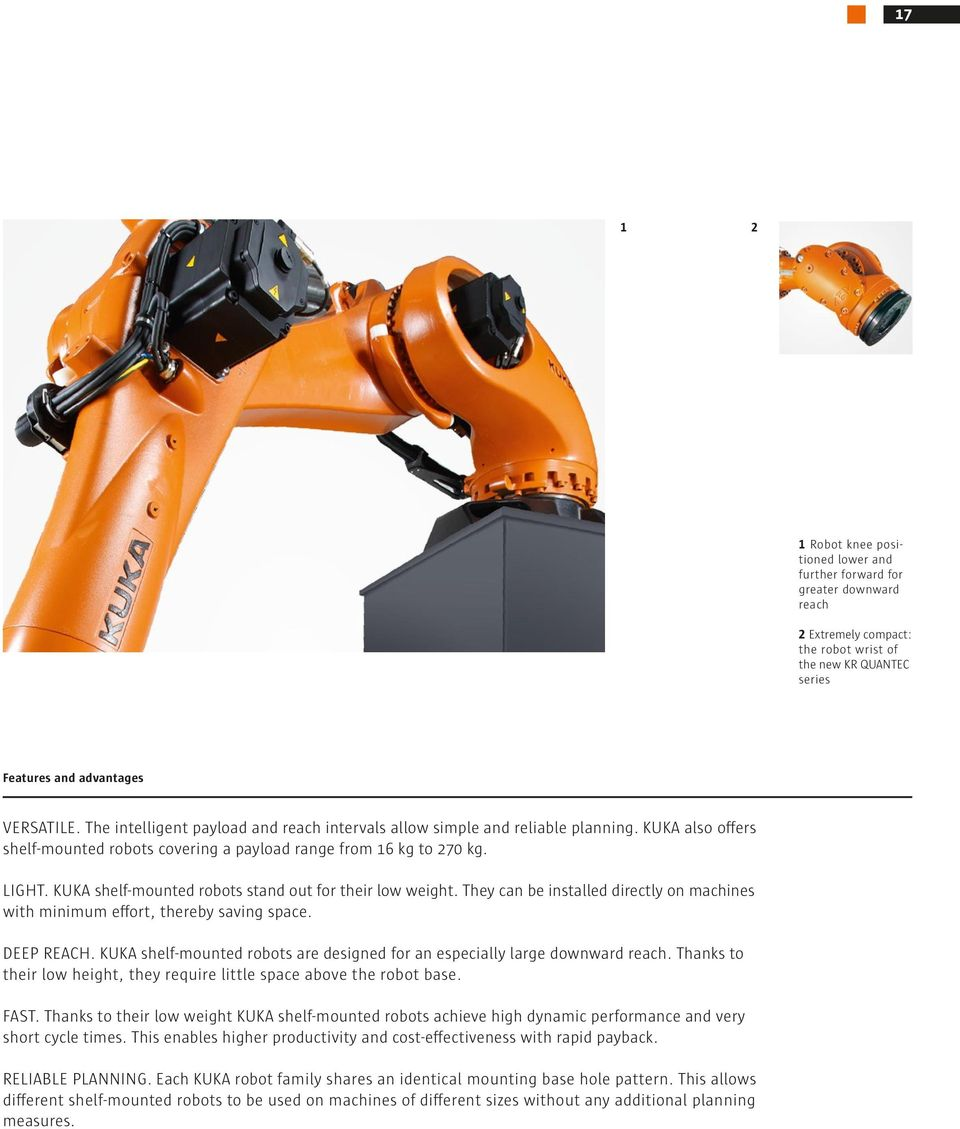KUKA shelf-mounted robots stand out for their low weight. They can be installed directly on machines with minimum effort, thereby saving space. DEEP REAH.