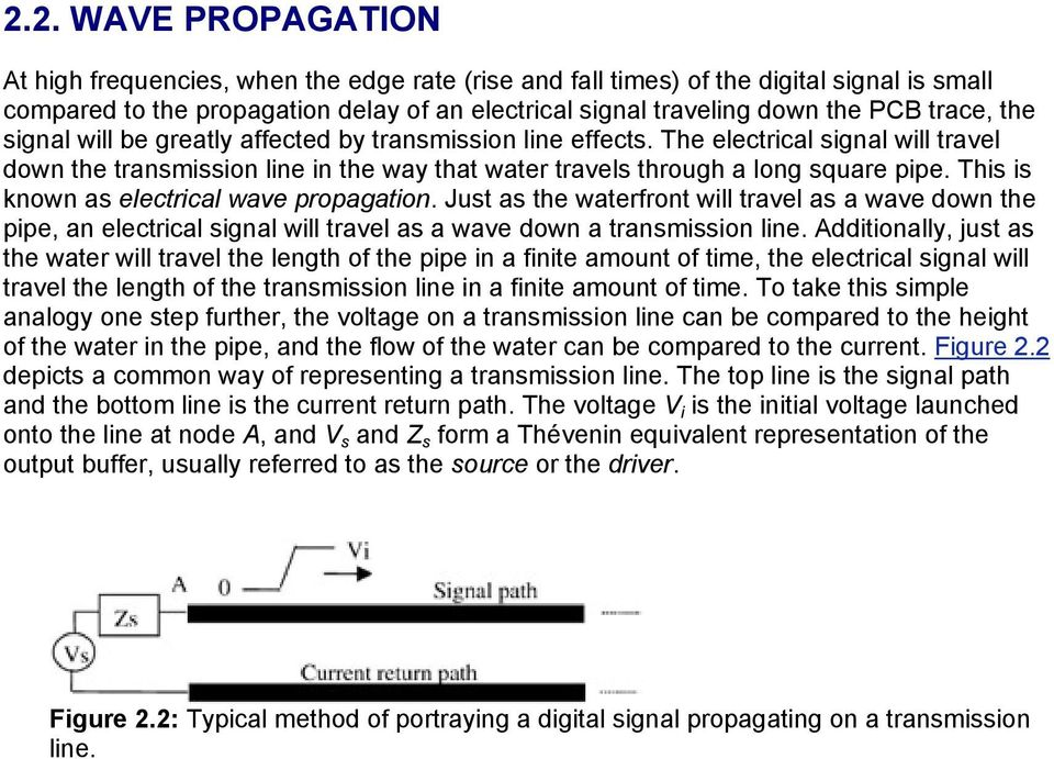 This is known as electrical wave propagation. Just as the waterfront will travel as a wave down the pipe, an electrical signal will travel as a wave down a transmission line.