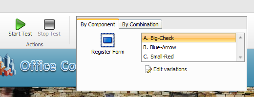2. When you click Start Test, you must also enter a name for the test. 3. Click Start the Test. 4. In the Page Editor, you can preview each of your test variables before you run the test.