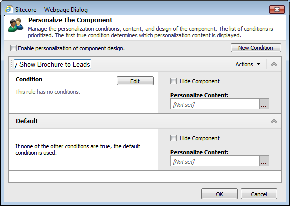 5. In the toolbar, click the Personalize Component button to open the Personalize the Component dialog box. 6.
