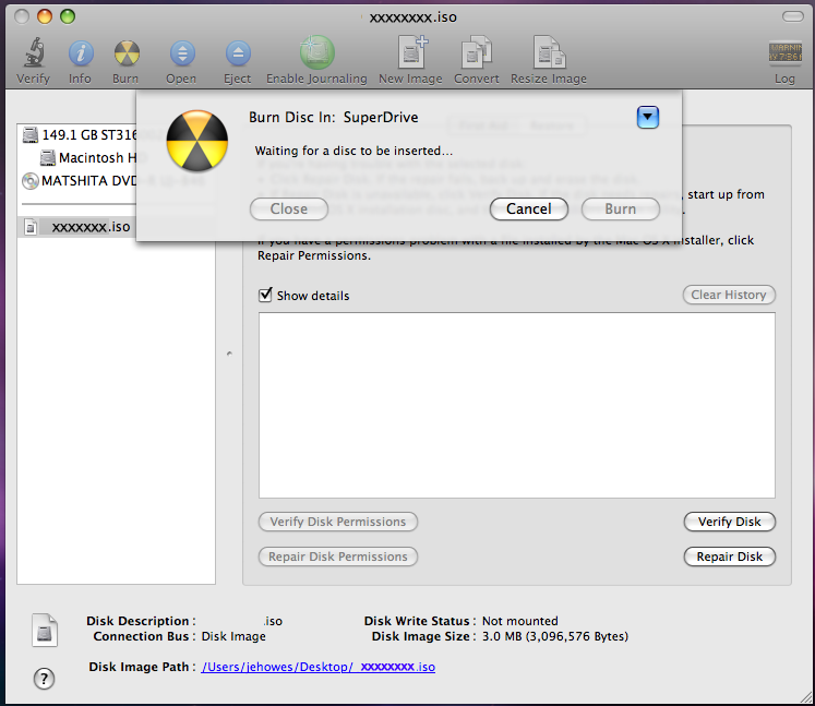 8. With the Disk Utility open, click the ISO image you downloaded. 9. Click the Burn button in the toolbar. Figure 14. Using Disk Utility to Burn ISO Image NOTE: 1.