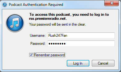When prompted within itunes, enter your Rush 24/7 username and password. Be sure to checkmark Remember password.