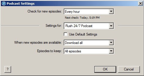 Setting up the itunes Auto-Download Feature for the Rush 24/7 Podcast Click the gear icon to the right of the podcast in the main Podcast library pane.
