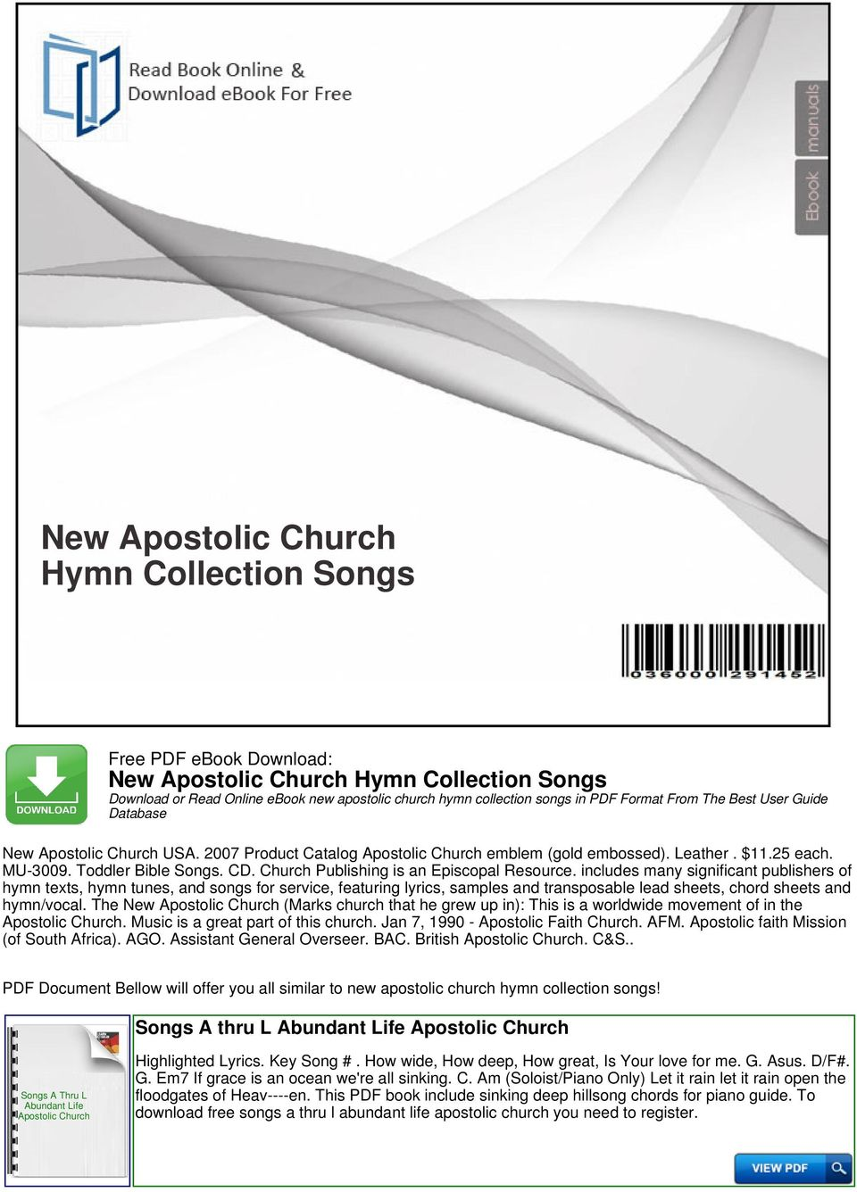 includes many significant publishers of hymn texts, hymn tunes, and songs for service, featuring lyrics, samples and transposable lead sheets, chord sheets and hymn/vocal.