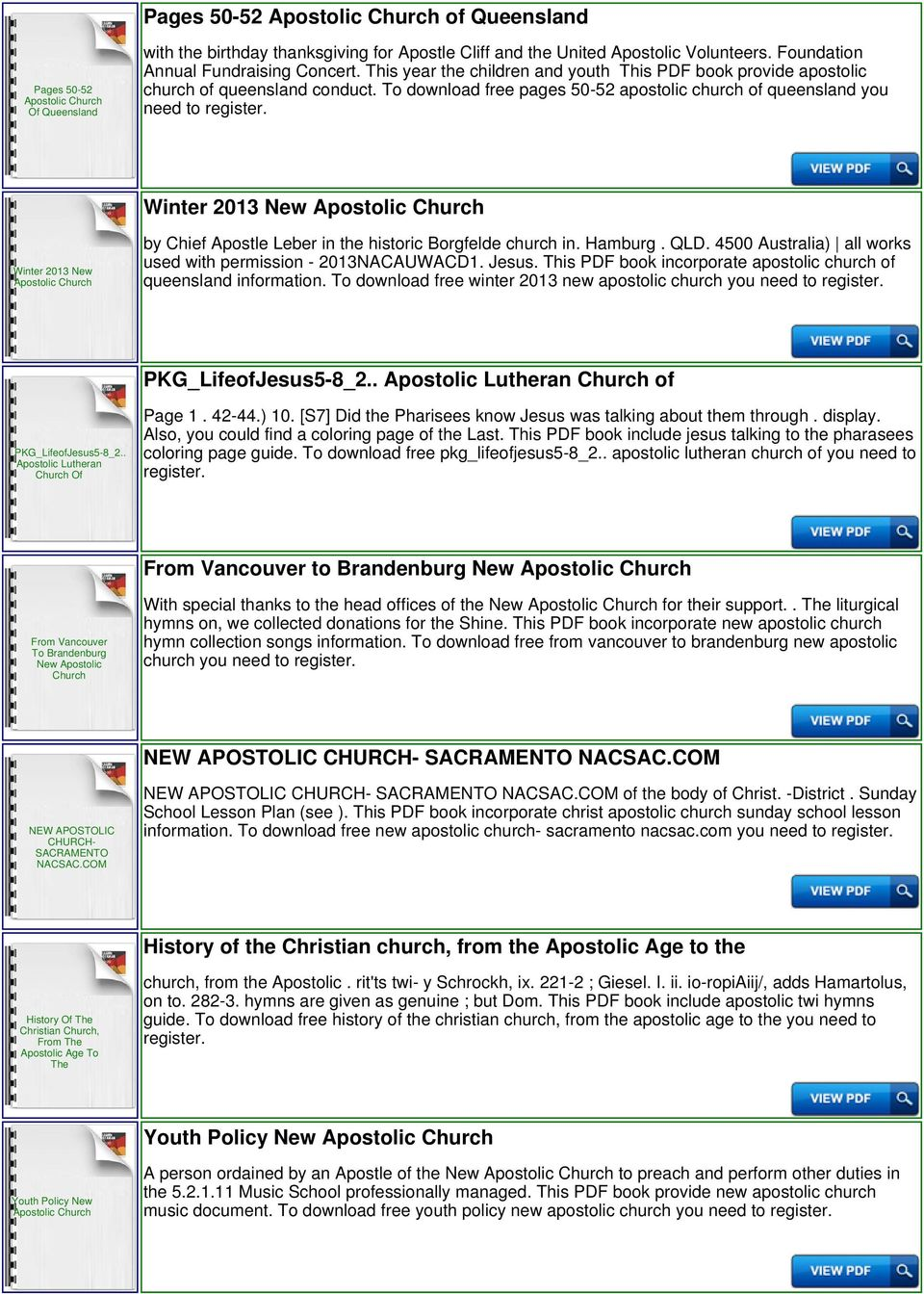 To download free pages 50-52 apostolic church of queensland you need to Winter 2013 New Winter 2013 New by Chief Apostle Leber in the historic Borgfelde church in. Hamburg. QLD.