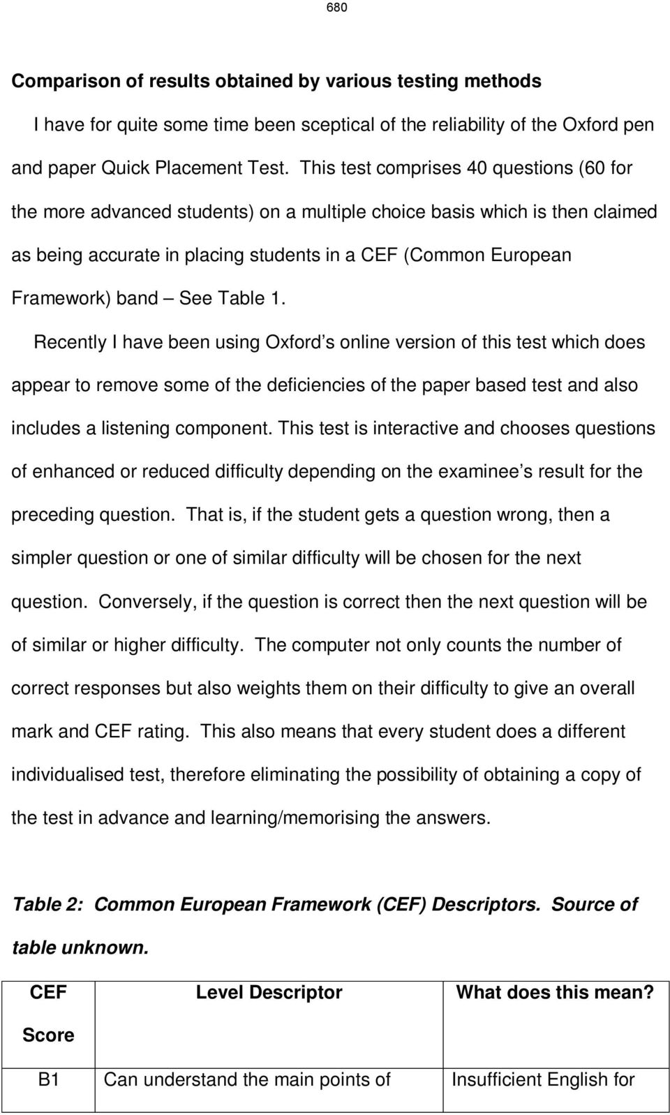 See Table 1. Recently I have been using Oxford s online version of this test which does appear to remove some of the deficiencies of the paper based test and also includes a listening component.