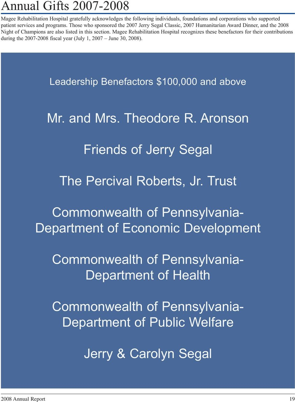 Magee Rehabilitation Hospital recognizes these benefactors for their contributions during the 2007-2008 fiscal year (July 1, 2007 June 30, 2008). Leadership Benefactors $100,000 and above Mr. and Mrs.