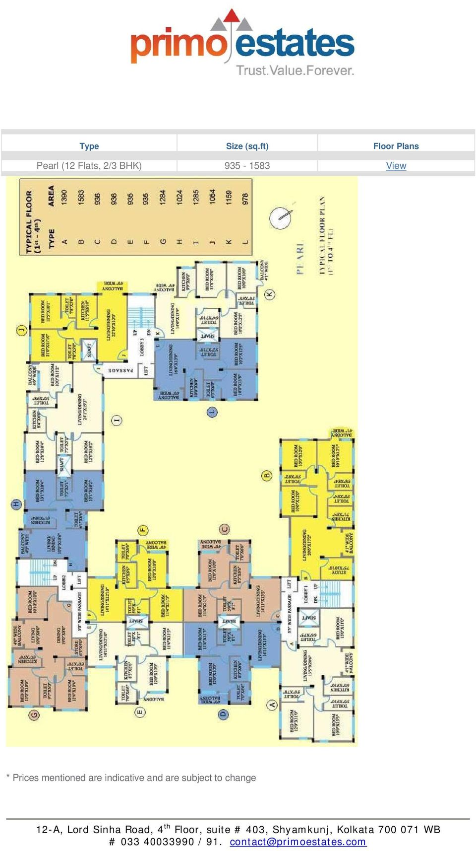 2/3 BHK) 935-1583 View * Prices