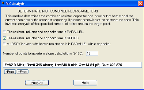 Figure 4 RLC dialog in Reflection Mode (Current dialog is somewhat different.) The dialog shown in Figure 4 is an old version. The current version has two changes: 1.