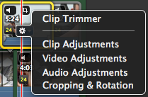 Adjusting clip setting (cont.) 16. In the video tab you have control over video levels and colour balance. Cropping 17.