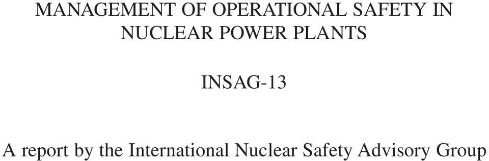 INSAG-13 A report by the