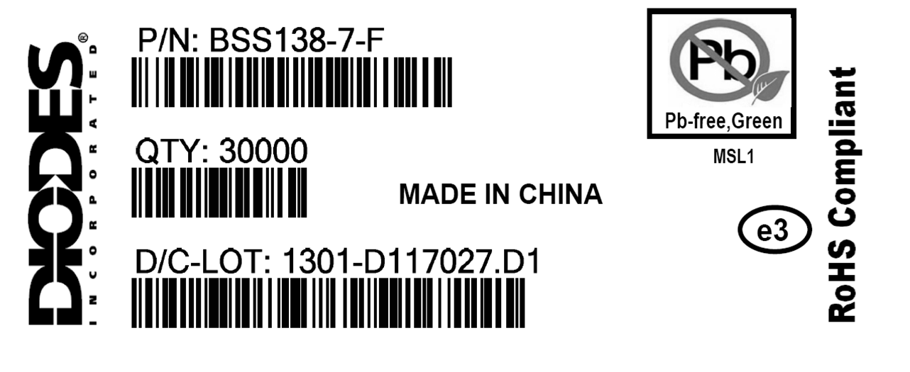 6 Standard Label for a Green product, RoHS Compliant Product with Tin terminal finish and Moisture Sensitivity Level 1.