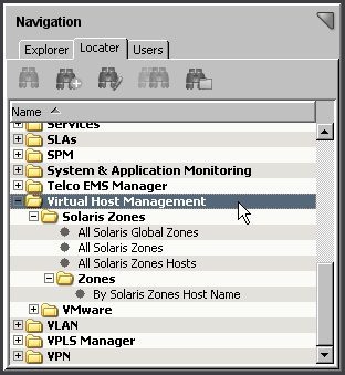 Viewing Your Solaris Zones Virtual Environment Note: The Solaris Zones Manager model provides combined information for all virtual devices managed by the Solaris Zones Manager.