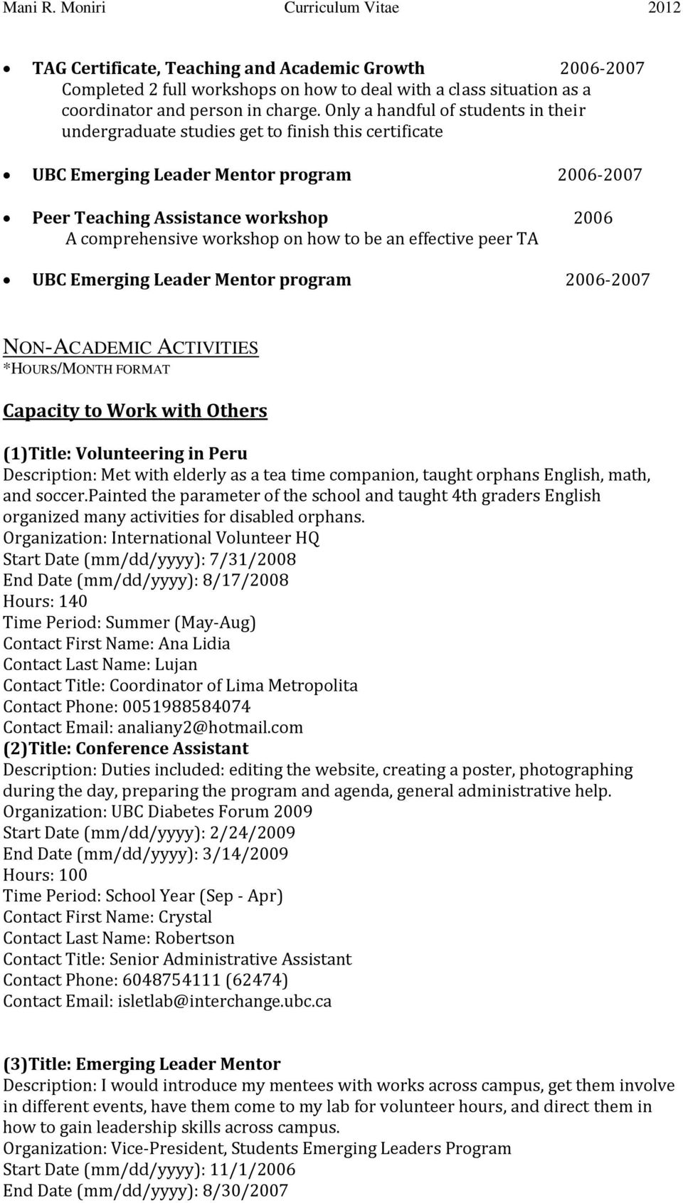 on how to be an effective peer TA UBC Emerging Leader Mentor program 2006-2007 NON-ACADEMIC ACTIVITIES *HOURS/MONTH FORMAT Capacity to Work with Others (1)Title: Volunteering in Peru Description: Met