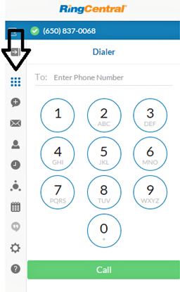 RingCentral for Google User Guide Dialer 13 Dialer You can bring up the dialer by clicking the dialer icon from navigation bar.