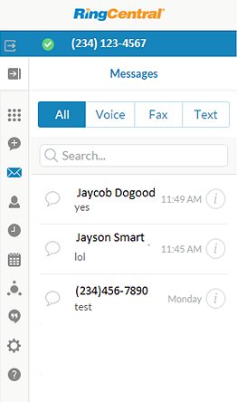 RingCentral for Google User Guide Messages 18 Messages You can view all your Voice, Fax and Text messages on the Messages screen.