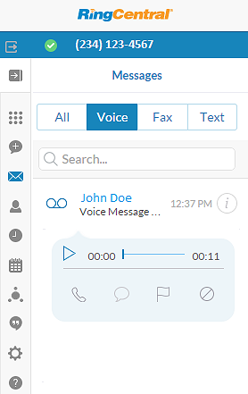 RingCentral for Google User Guide Voicemail Message 21 Voicemail Message In order to listen to your voice message click on the name or number that appears on the message.