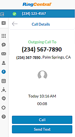 RingCentral for Google User Guide Call Details 29 Call Details The Call Details screen shows detailed call information.