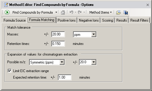 Recursive find features Create a method to Find Compounds by Formula Note: Mass and retention time (retention time required) is the proper selection for a CEF file.