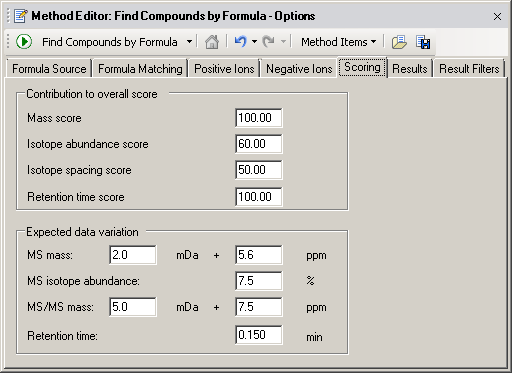 Recursive find features Create a method to Find Compounds by Formula 8. Clear the Trimers check box.