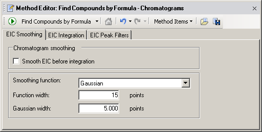Recursive find features Create a method to Find Compounds by Formula Figure 77 Result Filters tab in the Find by Formula - Options section 2.