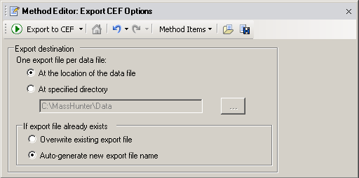 Recursive find features Set the Export CEF Options Set the Export CEF Options Export CEF Options specifies where MassHunter DA Reprocessor stores the resulting.