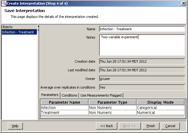 Advanced operations Experiment Setup Figure 94 Select conditions, Create Interpretation (Step 3 of 4) e Update parameters on the Save Interpretation page (Create Interpretation (Step 4 of 4)). 1.
