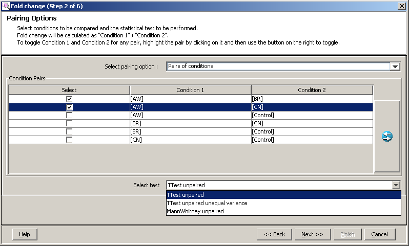 Advanced operations Analysis Figure 139 Input Parameters page (Filter on Fold Change (Step 1 of 6)) 3. Select your pairing options and test in Fold Change (Step 2 of 6).