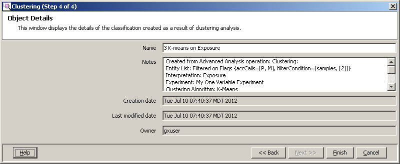 Advanced operations Analysis Figure 153 Output views page (Clustering (Step 3 of 4)) - U Matrix view 5. Enter object details in Clustering (Step 4 of 4).