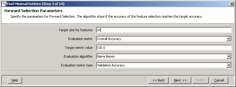 Advanced operations Analysis d Select an Evaluation algorithm. Select one of the evaluation algorithms to build a class.