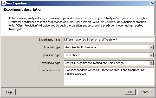 Import and organize data Set up a project and an experiment Figure 37 Experiment Selection Dialog dialog box 4.