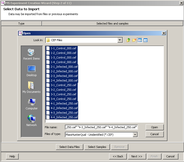 Import and organize data Import data files into the experiment Import data files into the experiment Your data files are imported in to Mass Profiler Professional during Step 1 and Step 2 of the MS