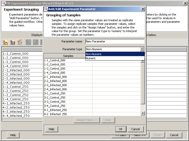 Import and organize data Order and group the data files Figure 43 Experimental Grouping dialog box Assign parameter values for the first, or only, independent variable Note: When entering Parameter