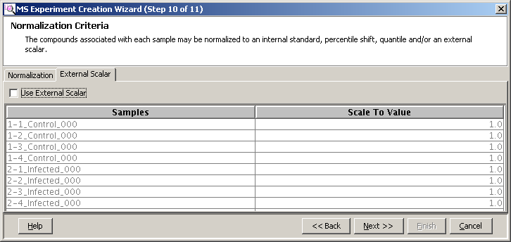 Import and organize data Filter, align, and normalize the sample data Figure 54 External Scalar tab 5.