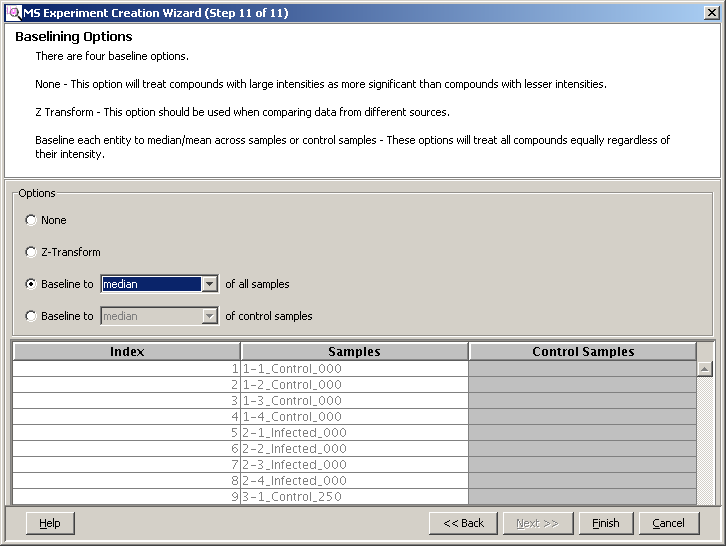 Import and organize data Filter, align, and normalize the sample data Figure 55 Selecting baselining options Note: The Significance Testing and Fold Change Wizard immediately starts after the Import