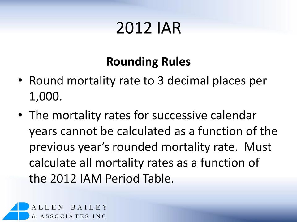 The mortality rates for successive calendar years cannot be calculated