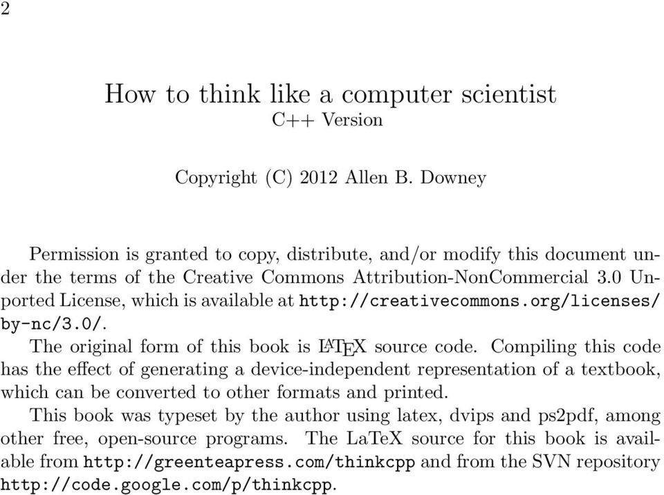 How to think like a computer scientist  Allen B  Downey - PDF