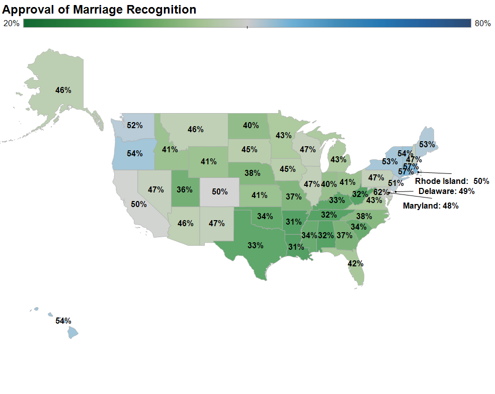Figure 3: State approval of marriage in 2012 Conclusion Public opinion in the states is important to policies offering marriage licenses to same-sex couples.