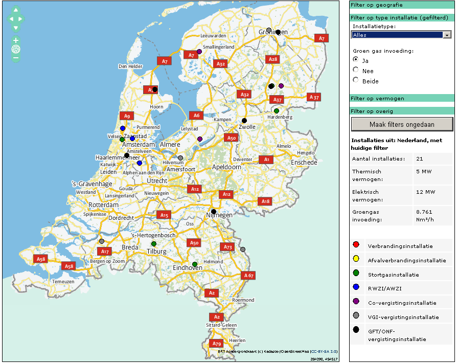 Current state of affairs In April 2013, 21 production locations for green gas were operating in the Netherlands, with an overall production capacity of 11900 Nm3/hour; annual production approximately