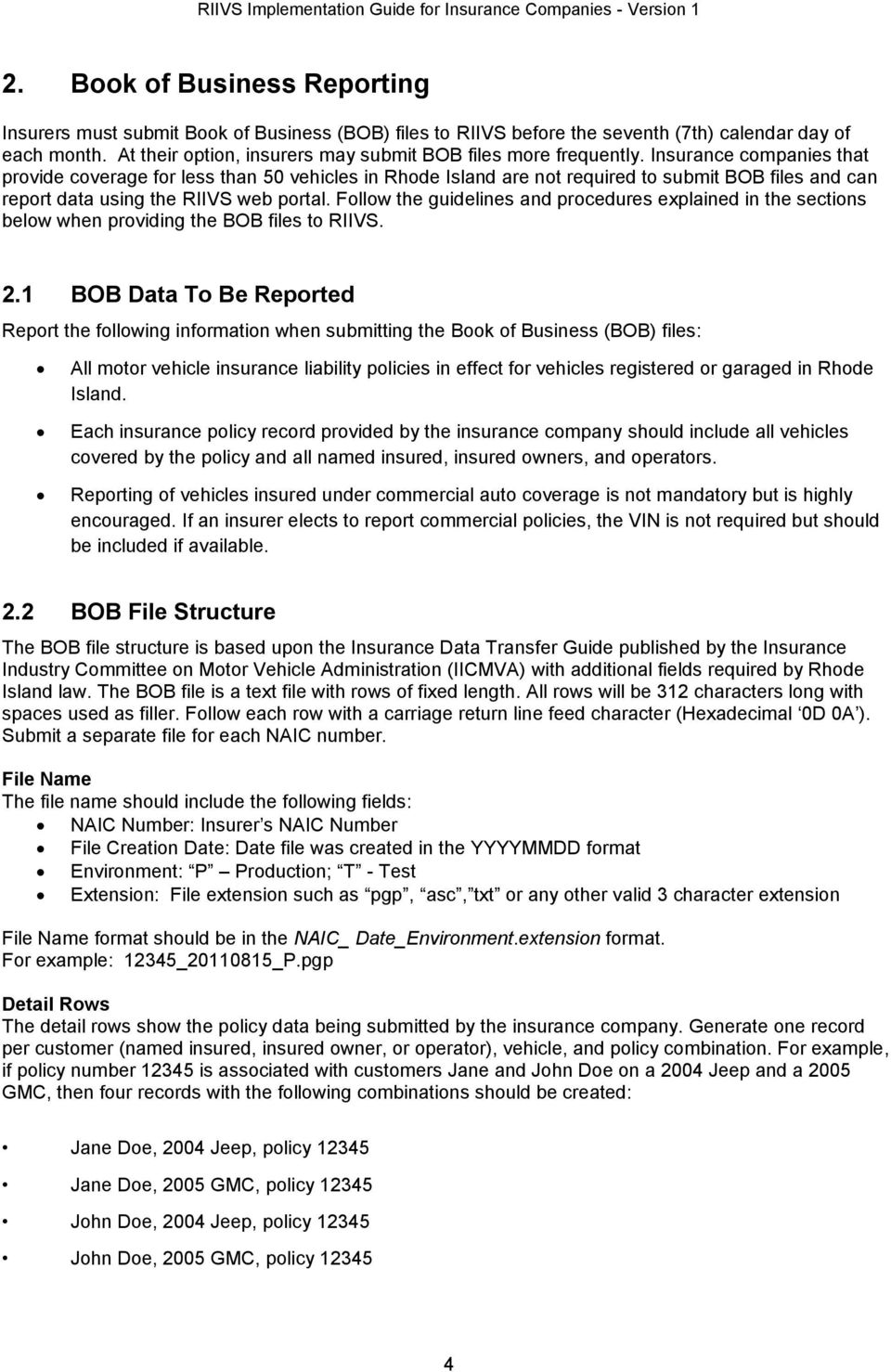 Insurance companies that provide coverage for less than 50 vehicles in Rhode Island are not required to submit BOB files and can report data using the RIIVS web portal.