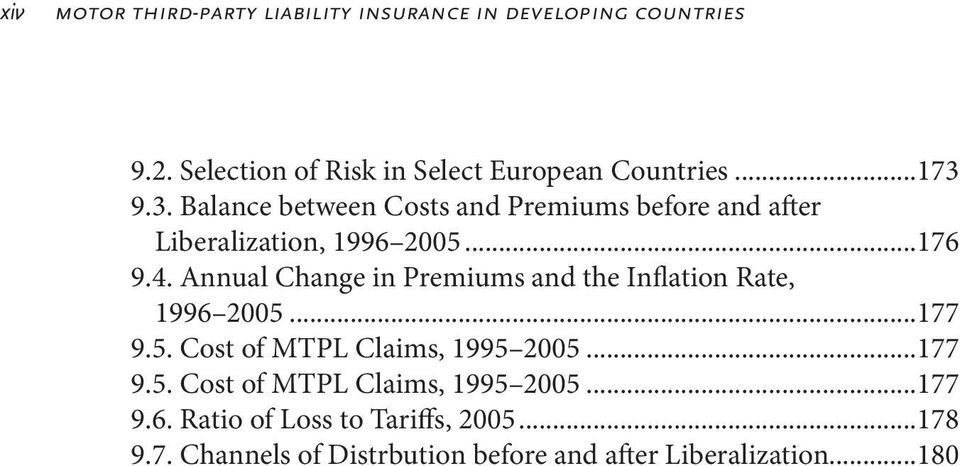 Annual Change in Premiums and the Inflation Rate, 1996 2005...177 9.5. Cost of MTPL Claims, 1995 2005...177 9.5. Cost of MTPL Claims, 1995 2005...177 9.6. Ratio of Loss to Tariffs, 2005.