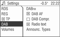 98 Radio The following menu items are available in the DAB menu: DABFM You can define that the same station as on DAB is received, if possible, when switching to FM. Select menu item DAB.