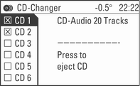 CD Player 105 Switching off Repeat Track Hold down the rocker switch c until the i symbol is no longer displayed. Repeat Off appears in the display for a few seconds. Or: Select a new track.