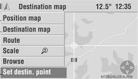 Navigation 65 3. Select a small scale to show a detailed map of all roads and to be able to exactly define the destination. 4. Select the Set destin.