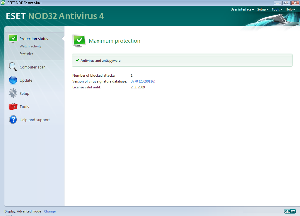 3. Beginner s guide This chapter provides an initial overview of ESET NOD32 Antivirus and its basic settings. 3.