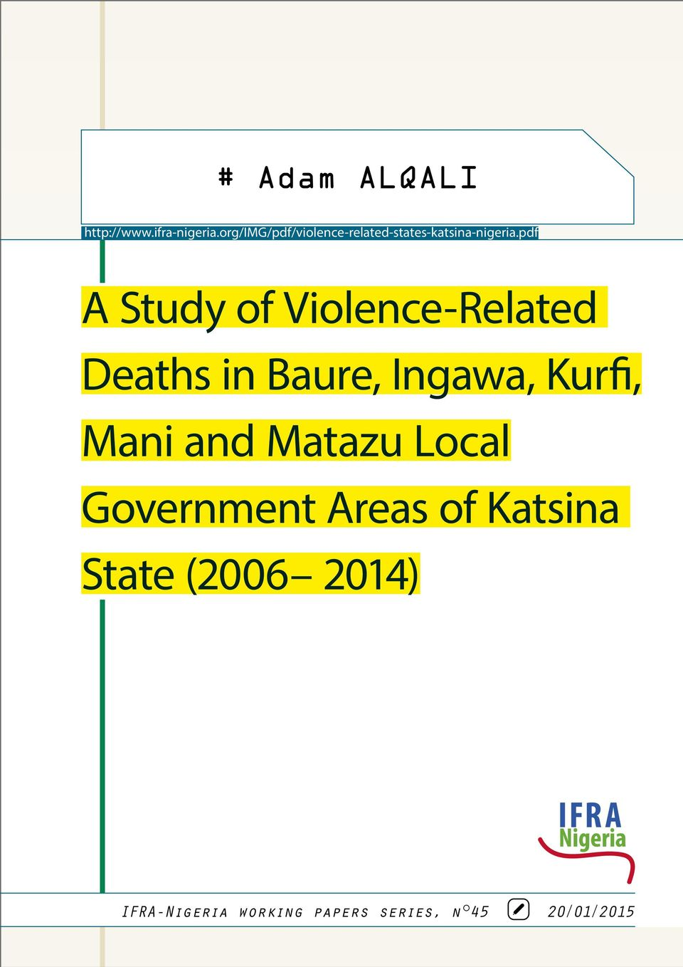 pdf A Study of Violence-Related Deaths in Baure, Ingawa, Kurfi,