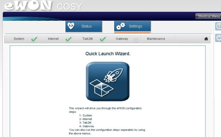 Click on the icon under Quick Launch Wizard.