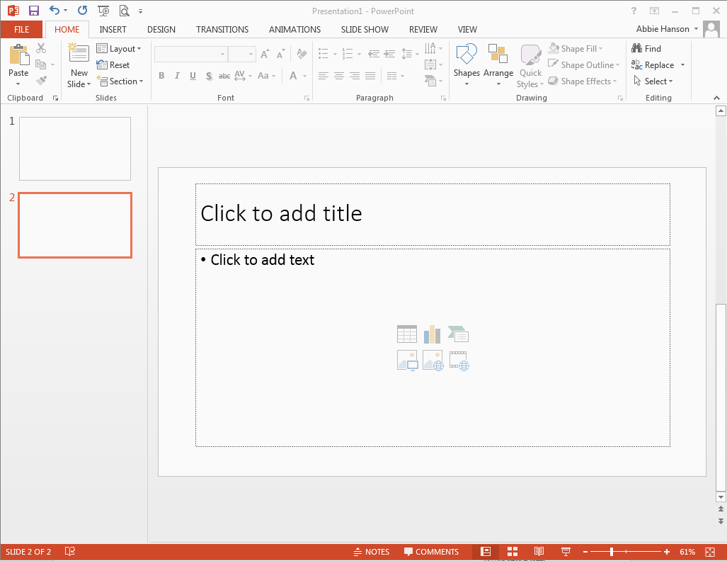 Using the Ribbon to Insert a New Slide To insert a new slide, click where it says New Slide. Once selected, a slide layout menu will appear.